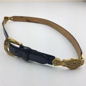 Accessories - Vintage Italian Crocodile Black Leather Belt